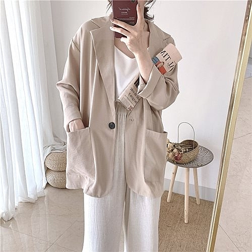 西裝外套-寬鬆單粒扣大口袋純色女休閒西服3色73xj41[巴黎精品]