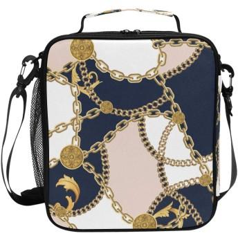SUDISSKM ランチバッグ大容量軽量トートバッグ 漏れ防止 お弁当バッグ ファッション柄 可愛い 弁当収納 断熱 手持ちと肩掛け、ファッションシームレスパターンゴールデンチェーンオン