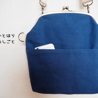 帆布がまぐち2wayショルダーバッグ 花紺-ink blue-