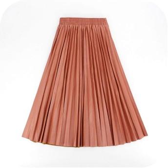 秋冬女性スカートプリーツレザースカートハイウエストエラスティックウエストAライン膝丈レディーススカート-leather pink-One Size