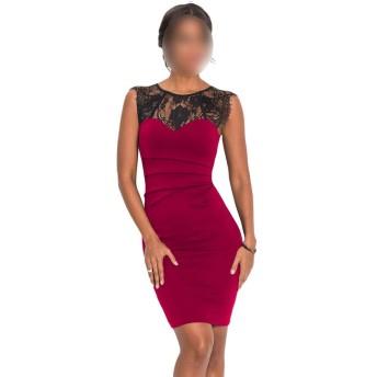 Jtydj 女性のノースリーブクルーネックレースパッチワークボディコンドレス (色 : レッド, サイズ : M)