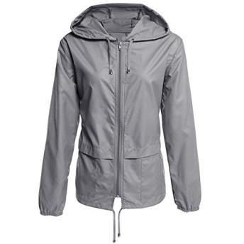 女性の防水レインジャケット、軽量防水防風はフード付きレインコートレディースコートアウトドアハイキングジャケットジップ (Color : Dark gray, Size : XL)