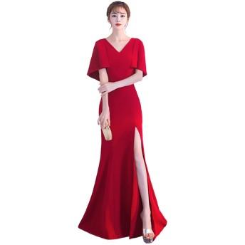 [ルリジューズ] ドレープ スリーブ V ネック ロング フレアー パーティー ドレス レディース (M, 赤)