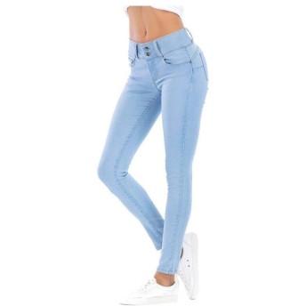 女性の ド蝶コーテ ボタンのジーンズスリムは薄い鉛筆のズボンのズボンヨーロッパでした いシェイプ (Color : Light blue, Size : XL)