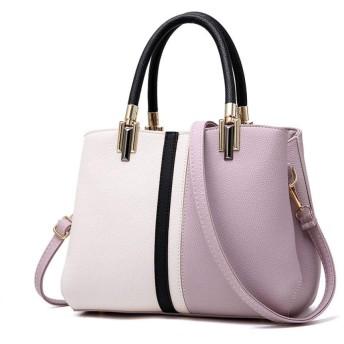 HAOSQ ハンドバッグバッグ女性PUコントラストカラーショルダーバッグ通勤ショッピング旅行パープル