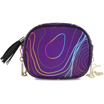 NIKIVIVI レディース チェーンバッグ、ファッション カジュアル シンプル デザイン ショルダーバッグ チェーンバッグ 手提げ 斜めかけバッグ チェーンバッグ 、カラフルな地形図背景コンセプトスペース