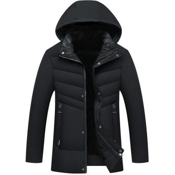 冬服 メンズ コート 中綿ジャケット ウインドブレーカー ダウンジャケット 防寒 防風 裏起毛 厚手 アウトドア ジャケット 黑 3XL