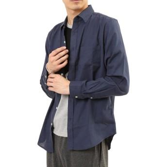 (アーケード) ARCADE メンズ シャツ 綿麻リネン ストレッチ オックスフォード カジュアルシャツ M ネイビー(長袖)