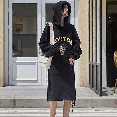 長袖洋裝-連帽字母印花棉質連身裙73xm22【時尚巴黎】