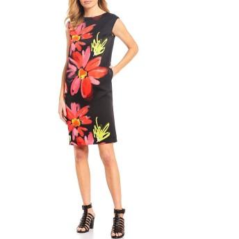 [アイシーコレクション] レディース ワンピース Big Flower Print Cap Sleeve Shift Dress [並行輸入品]