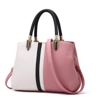 HAOSQ ハンドバッグバッグ女性PUコントラストカラーショルダーバッグ通勤ショッピング旅行ピンク