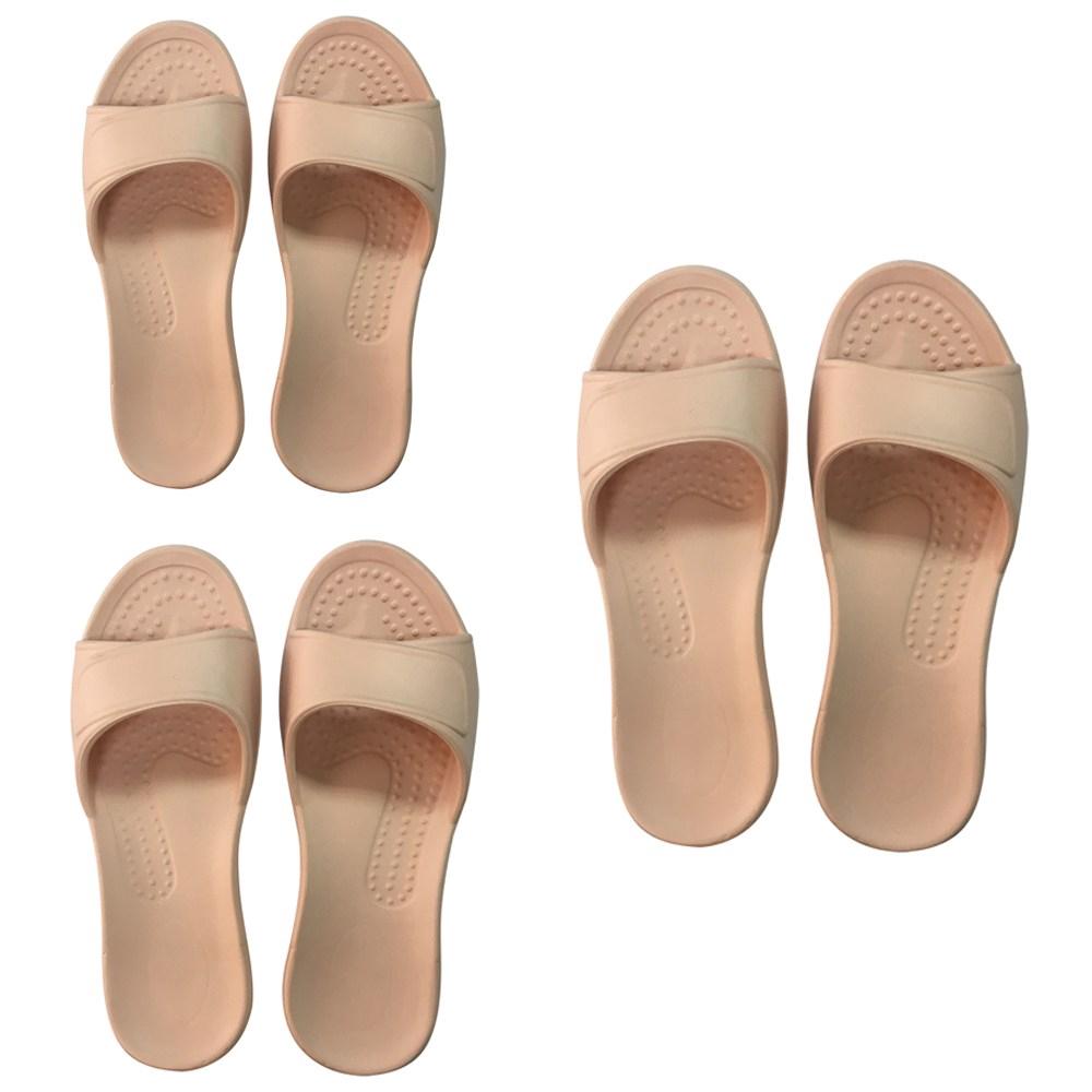 EVA柔軟室內拖鞋 粉橘 S+M+L 三入組