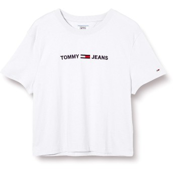 トミー ジーンズ(レディース)(TOMMY JEANS) ロゴクロップドTシャツ【ホワイト/M】