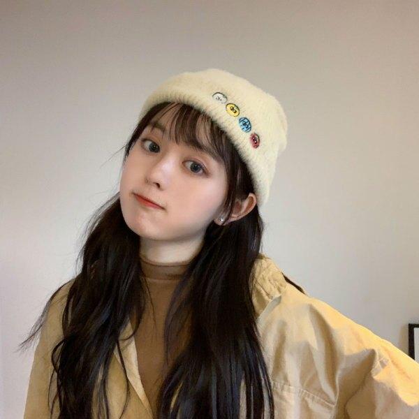 帽子 小怪獸刺繡兔毛保暖毛線帽子男女秋冬天純色百搭護耳堆堆針織帽子