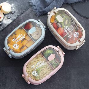 小麥便攜減肥飯盒女上班族微波爐加熱便當盒學生簡約分格雙層餐盒