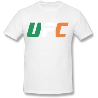 メンズ 半袖 UFC 総合格闘技 Tシャツ プリントTシャツ コットン カジュアル マルーネック Large ホワイト