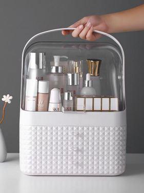 化妝品收納盒置物架桌面收納防塵護膚品收納架化妝盒梳妝臺口紅盒