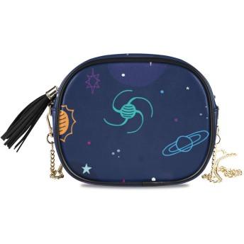 KAPANOU レディース チェーンバッグ,手描きの銀河,ミニファッションかわいいデザインショルダーバッグパーソナライズされたカスタムの異なるスタイルの色