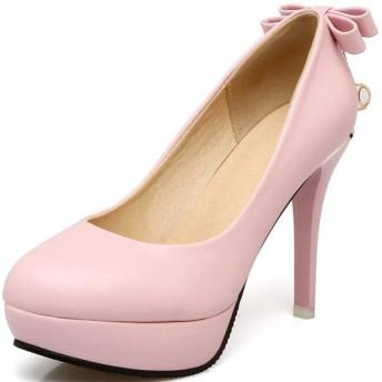 [GoldFlame] 前厚パンプス ハイヒール レディース プラットフォーム リボン付き 10CM 疲れない 結婚式 オフィス アーモンドトゥ ピンヒール 厚底靴 パーティー 仕事 晴雨兼用 おしゃれ 可愛い ピンク 黒 大きい
