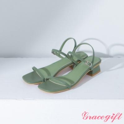 Grace gift 方頭一字繫踝中跟涼鞋