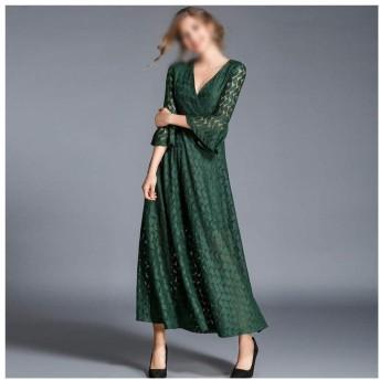 JIANYI JP ファッション秋Vネックレースアップレースのドレスの女性のスリムフィットロングスカート (Color : Green, Size : XL)