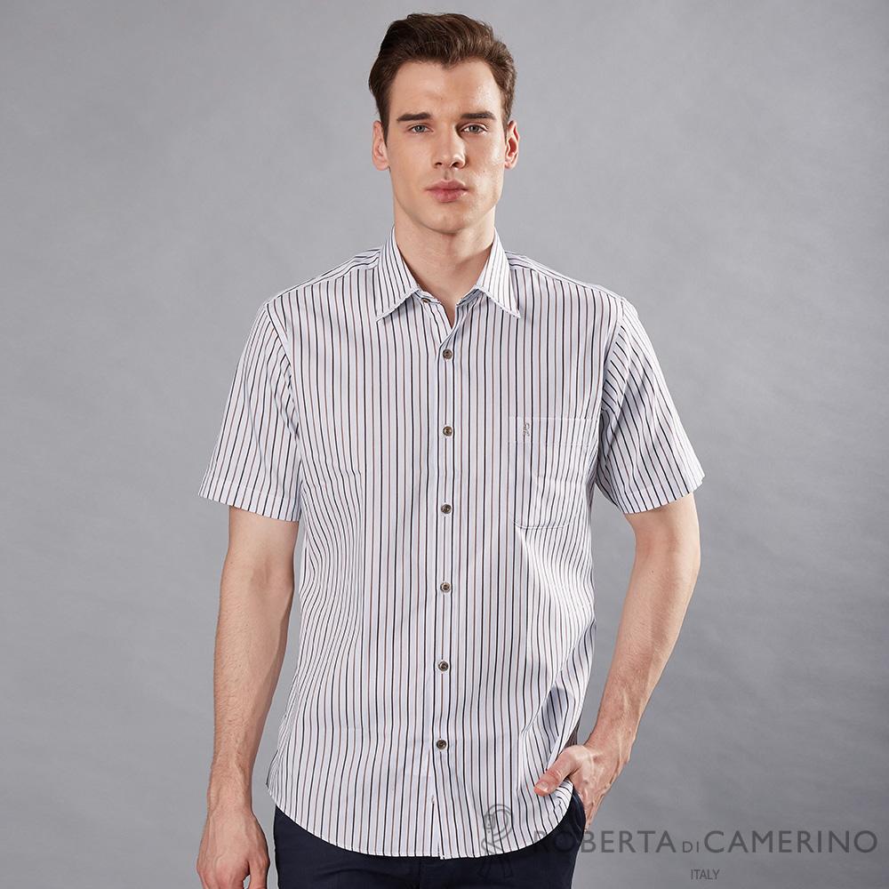 ROBERTA諾貝達 台灣製 進口素材 合身版 休閒 純棉緹花條紋短袖襯衫 咖啡