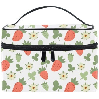 化粧ポーチ 機能的 大容量 オシャレ 祝い プレゼント ギフトGreen Leaves Strawberries