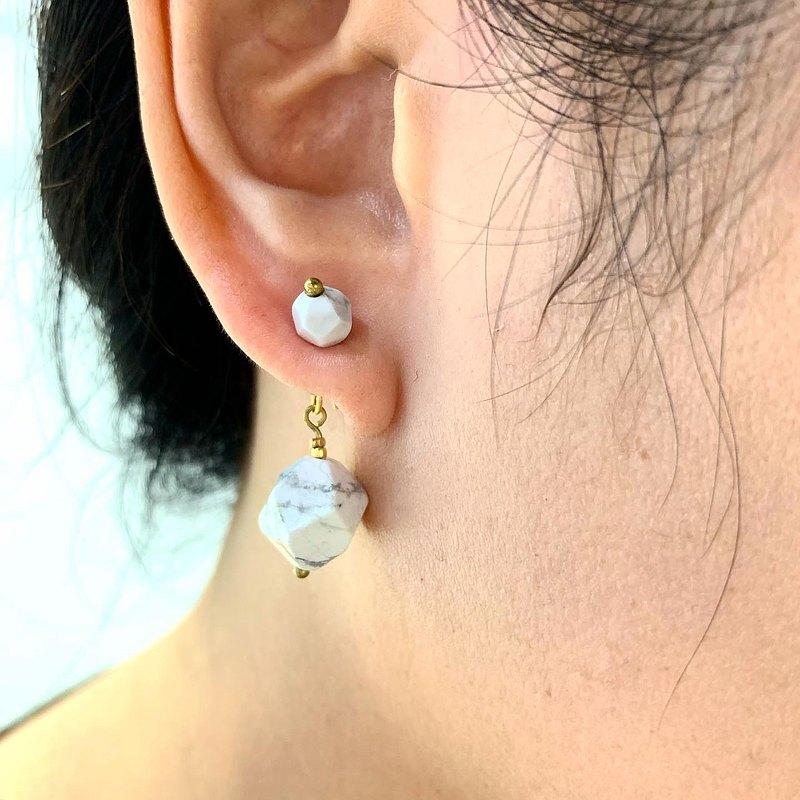 短版六角形白文石貼式耳環_大顆白文石垂墜雙用耳環_免費改夾式