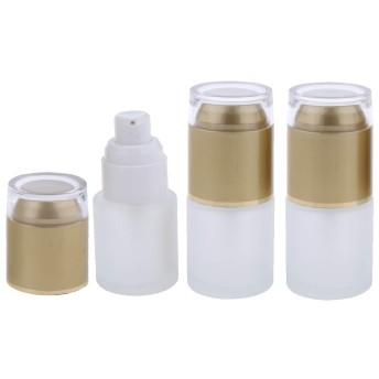 3個 メイクアップボトル ポンプボトル 詰替え容器 ガラス 旅行 便利 3色2タイプ選べ - ゴールド