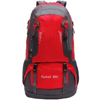バックパックスポーツアウトドアバッグマウンテニアリングバッグ、アウトドアスポーツトラベルバックパック、60Lハイキングバックパック-red