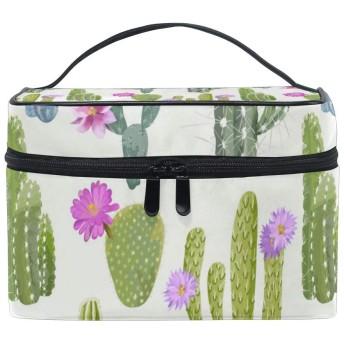 熱帯サボテンの花のパターン 人気 化粧 ポーチ 旅行用化粧品バッグ 大容量 ビジネス 化粧キット