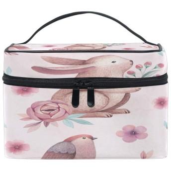 花の花の動物のウサギ 洗面バッグ 旅行用化粧品バッグ 大容量 ビジネス トイレタリー収納