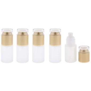 5個 ポンプボトル ガラス瓶 小分け容器 化粧品 フロスティング表面 蓋付き 30ミリ 全3色 - ゴールデン
