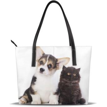 バッグ トートバッグ 子犬 子猫 ウェールズコーギー 手提げバッグ ショルダーバッグ PUレザー ハンドバッグ レディース 大容量 防水 A4対応 軽量 ビジネス 通勤 通学 誕生日プレゼント