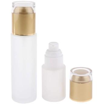 2個 ガラス メイクアップボトル 小分け容器 コスメ 液体 3色選べ - ゴールデン