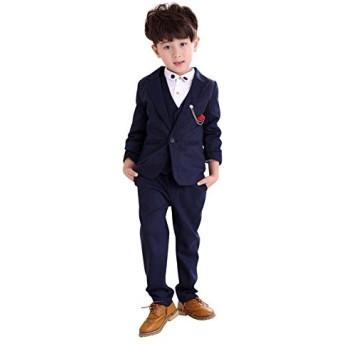BCSY 子供服 キッズ フォーマル スーツ 男の子 スーツ 紳士服 卒業式 七五三 誕生日 入園式 (ネイビー,110cm)