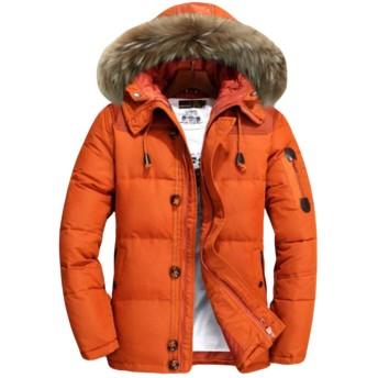 REHOODNメンズ ダウンジャケット カジュアル 中綿ジャケット メンズ ダウンコート 冬 無地 メンズ ダウン コート フード付き メンズ 防風 ビジネス 防寒 通勤 コートオレンジRE2