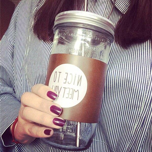 梅森罐大容量玻璃杯梅森果汁杯文藝清新成人帶蓋吸管創意辦公室喝水杯子