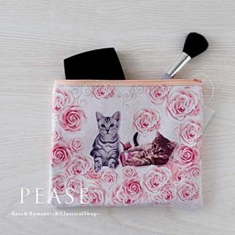 [アクロスシーズ] ローズ&キャットバッグインポーチ 化粧ポーチ コスメポーチ ミニポーチ 小物入れ 花柄 猫