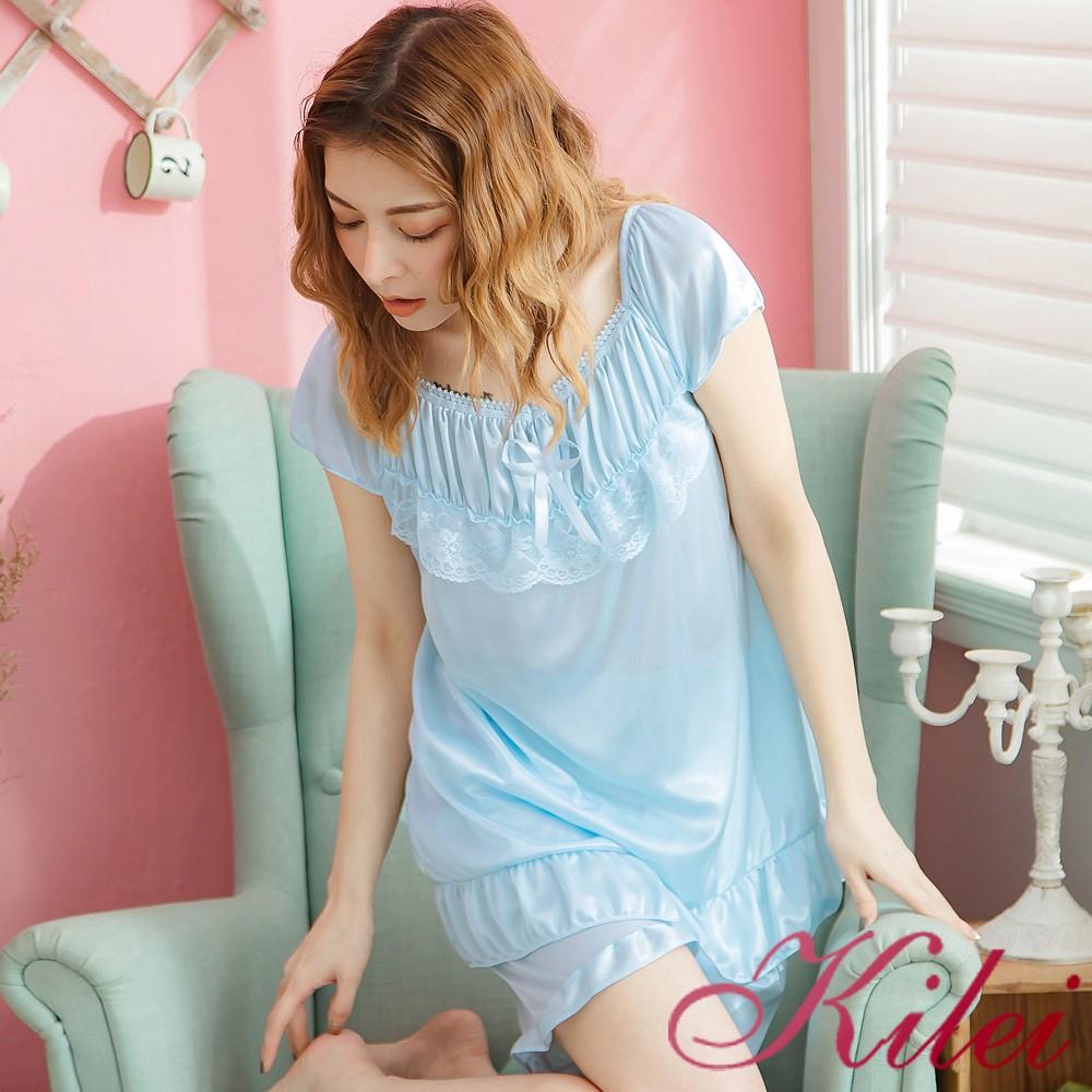 Kilei 蝶結蕾絲冰絲荷葉擺短袖二件式睡衣組XA3630-01(清新淺藍)全尺碼 廠商直送 現貨