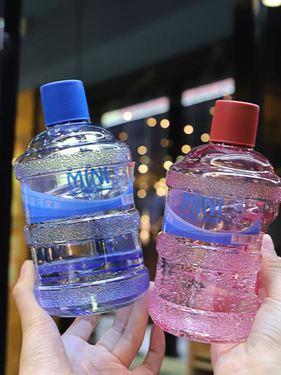 礦泉水桶杯子創意個性潮流塑料杯子學生男女戶外便攜耐高溫隨手杯