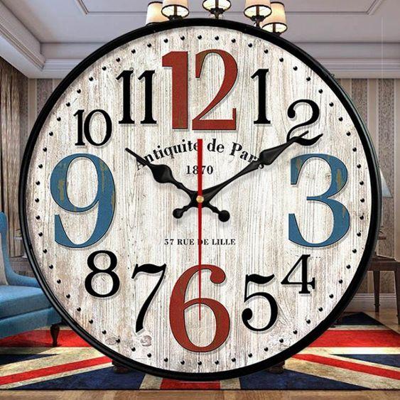 美式復古鐘錶網紅掛鐘客廳掛錶創意潮流牆鐘現代簡約錶家用時間鐘HM