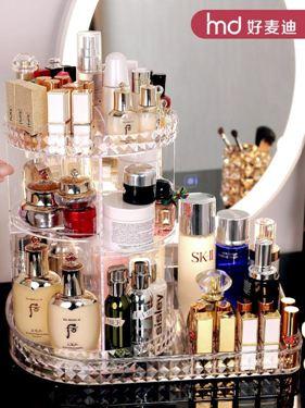 網紅旋轉化妝品收納盒桌面置物架亞克力梳妝臺口紅護膚品家用整理