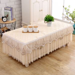 桌墊 茶幾桌布長方形布藝蕾絲餐桌墊客廳茶幾套罩家用歐式電視櫃防塵罩
