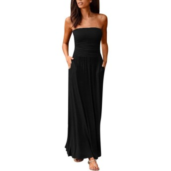 ZBBH レディースバンドーホリデーオフショルダーのロングドレス夏のソリッドマキシドレスレディースセクシーなラップ胸ロングドレスVESTIDOラルゴVERANO (Color : Black, Size : S)