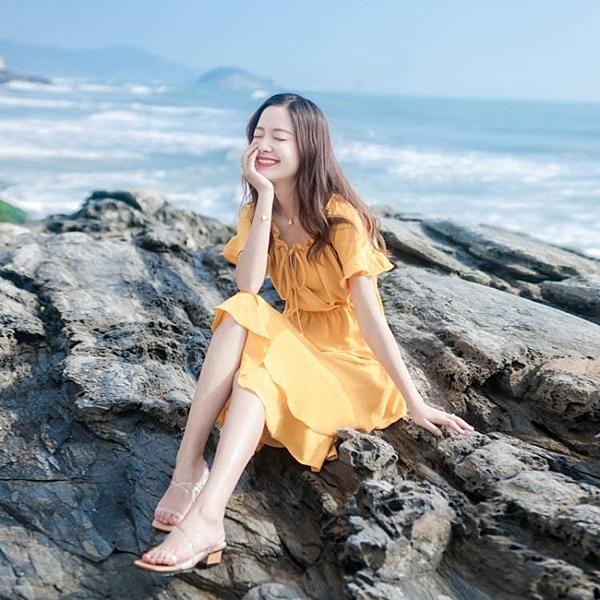 2020夏季新款女裝一字肩露肩海邊度假沙灘裙小香風裙子顯瘦洋裝 童趣