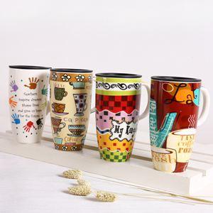 杯子 創意馬克杯水杯帶蓋喝水杯子大容量咖啡杯家用潮流情侶陶瓷杯茶杯