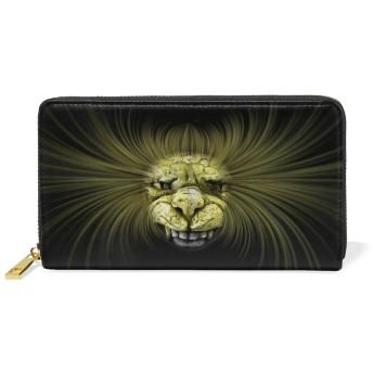 ホラーライオン本革ファスナー財布レディース真皮のウォレット携帯電話を置くのに適している