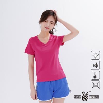 【遊遍天下】MIT女款吸濕排汗抗UV顯瘦V領衫GS2003玫紅