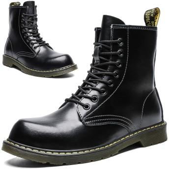 [Maxome] ブーツ メンズ レディース カジュアルシューズ エンジニアブーツ 編み上げブーツ ワークブーツ 安全靴 ブーツ 本革 アウトドア 防水 防滑 本皮 黒 23.0cm